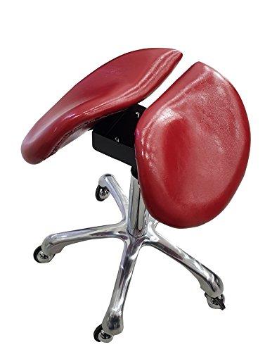 Crisnails® Silla de Trabajo, Taburete de Material Piel con Ruedas Giratorias, Taburete para Cosmetica, Dentista y Peluqueria (Piel Roja)