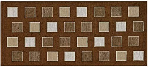 Home Life Alfombra Antideslizante y Resistente a Las Manchas para la Cocina – Moderna Alfombra Lavable Fabricada en Italia –Alfombra Rectangular con diseño de Cuadros (55x240 cm, Marrón)