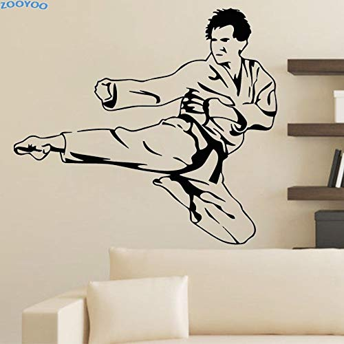 Tianpengyuanshuai Karate Kick Wandaufkleber Sport Wandtattoos Wohnkultur abnehmbare Wohnzimmer Kinder Kinderzimmer Dekoration64X58cm