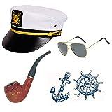 Sailor Ship Yacht Boat Captain Hat Costume Accessories - Sailor Cap,Wooden Pipe,Aviator Sunglasses