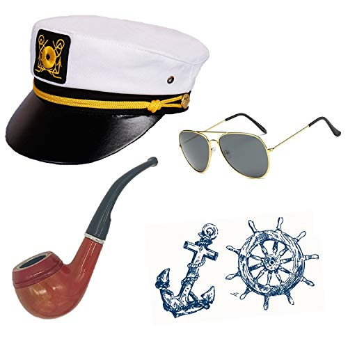 Sailor Ship Yacht Boat Captain Hat Costume Accessories - Sailor Cap,Wooden Pipe,Aviator Sunglasses