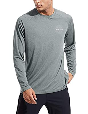 BALEAF EVO Men's Dri Fit Shirts Long Sleeve SPF Quick Dry Cooling Lightweight UPF50+ Shirt Hiking Running Workout Outdoor Gray Size M