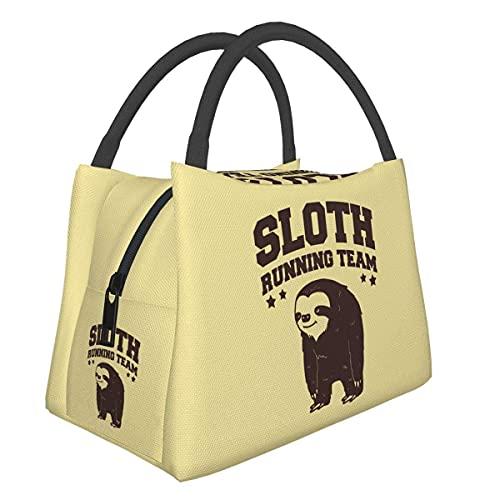 Jupsero Sloth Running Team Sloth Team - Bolsa de almuerzo aislada, reutilizable, para trabajo, escuela, oficina, enfriador, bolsa de asas, organizador de lonchera para mujeres y hombres