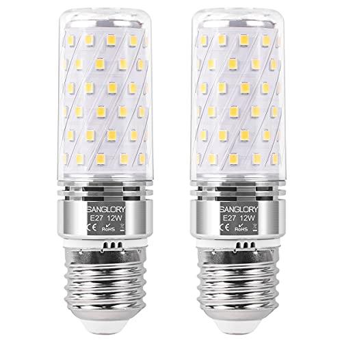 SanGlory E27 LED Lampadine Bianco Neutro 4000K, 12W Equivalente a Alogeno 100W, 1350LM, E27 Mais lampade Non Dimmerabile Lampadine a Candela, Pacco da 2 (12W E27 4000K)
