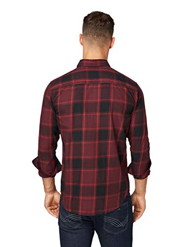 TOM TAILOR Herren Blusen, Shirts & Hemden Kariertes Hemd Burgundy Black Big Check,XL,19547,4000