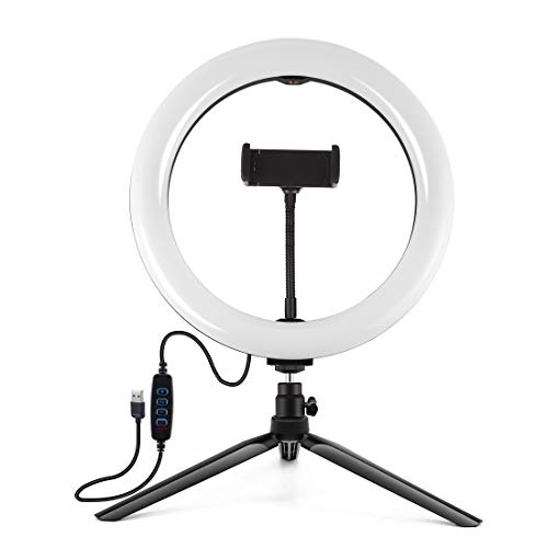 Trípode de sobremesa+pulgadas regulable con doble color de temperatura LED de arco difuso anillo de luz de fotografía con soporte para teléfono móvil. Botón negro de 7,6 pulgadas (26 cm)