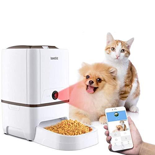 6 Litros Comederos Automaticos Gatos Con Cámara Iseebiz Comedero Automatico Perro Wifi  Controla por APP  6 Dosis de Comida por Día