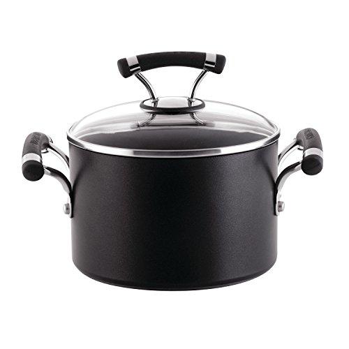 Circulon Contempo Hard Anodized Nonstick Sauce Pan/Saucepan with Lid, 3 Quart, Black