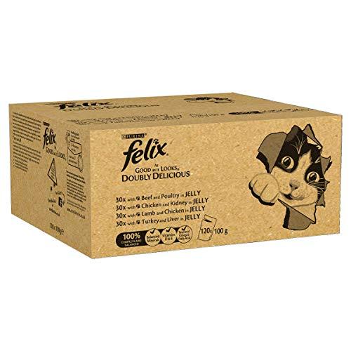 Felix Tan Bueno como se ve doblemente Delicioso alimento para Gatos, 100 g x 120 Bolsas