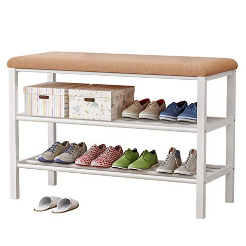 MICEROSHE Zapatero Conveniente Banco de Zapatos para Zapatos de 3 Niveles con Cojines Acolchados de Asiento Resistente Estructura de Zapatos de Marco de Metal Regalos para el Hogar