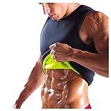 Youmymine Men Sauna Sweat Vest Waist Trainer Suit Slimming Workout Body Shaper Corset for Weight Loss (Black, L)