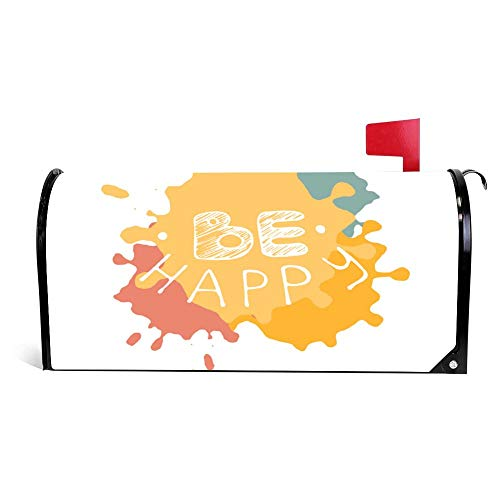 wendana Be Happy Modern Borstel Kalligrafie Postbus Cover Magnetische Vinyl Thuis Tuin Decor Postbus Wrap Post Brievenbus Cover 18
