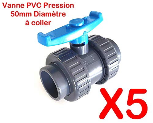 "Lot de 5 Vannes INTERPLAST à coller 50mm 1""1/2 double union démontable PVC Pression PN16 Vanne à boisseau 50 mm"