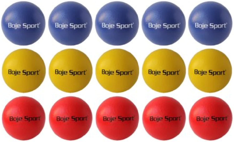 Boje Sport 15x Softball mit Elefantenhaut  ca. 16 cm je 5X gelb, blau, rot