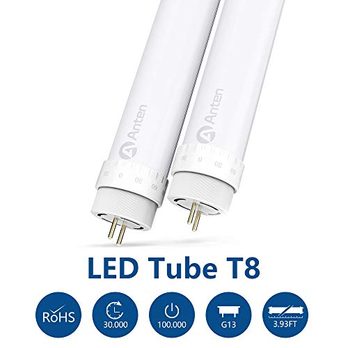 Anten 2er 120cm T8 G13 Leuchtstoffröhre Naturweiß 4000~4500K 20Watt LED Röhre Tube Leuchtmittel inkl. LED Starter (2er-Pack)