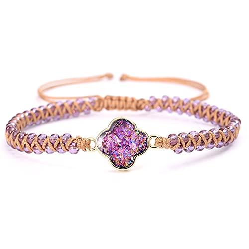 JKLJKL Bracelets Amor corazón ópalo Encanto Pulseras Azul Morado púrpura Hecho a Mano Trenzado joyería Pulsera (Metal Color : Purple Flower)