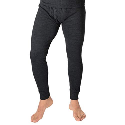 Black Snake Herren Lange Thermo Unterhose, gerippt, mit Eingriff und atmungsaktiver Baumwolle Anthrazit XL