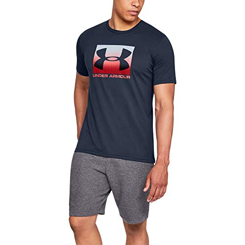 Under Armour UA BOXED SPORTSTYLE Short Sleeve, Stylish and Comfortable T Shirt for Men, Breathable Gym and Fitness Clothing Men ,Blue (Academy/Red (408)) ,XX-Large