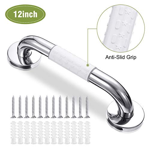 king do way Bathroom Grab Bar Safety Handle with Safety Anti Slip Grip Ring Bathtub Handrail Shower Hand Grip Shower Grab Bar Stainless Steel Chromed for Bathroom, Kitchen, Stairs 12inch