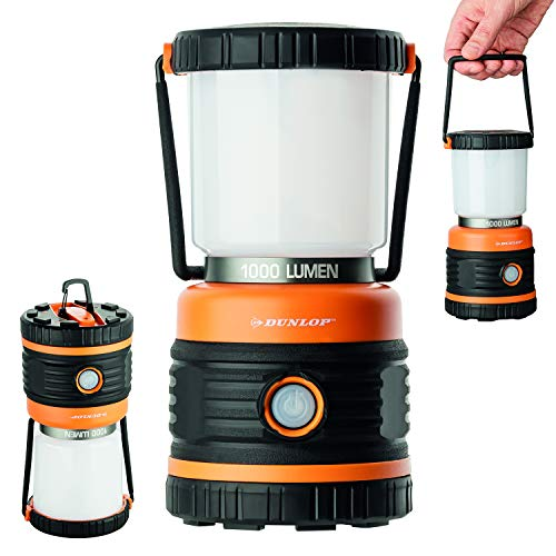 OUTDOOR Camping Leuchte Dunlop LED | 1000 Lumen | 4 Leuchtmodi | Dimmbar | Stoßfest, Kratzfest+ Spritzwasser geschützt IP44 | 46 SMD Standby LED (Orange/Schwarz)