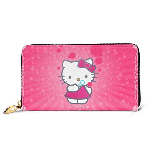 Carteras para Mujer Anime Hello Kitty Cartera con protección RFID, Piel auténtica, Cremallera, Tarjetero, Organizador, Cartera