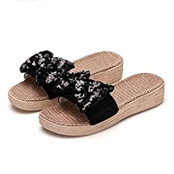 Thick Black Sequins Flax Bowknot Slip On Sandals
