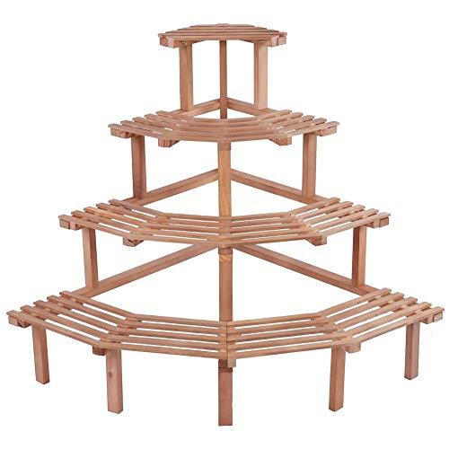 Soporte para macetas, 4 gradas Estante para Plantas en Esquina Estante para macetas Estantes de Madera Multi Estante de exhibición de bonsái para Patio Interior(Natural)