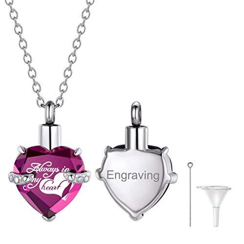 Ricshteel Corazón Violeta Piedra Personalizable Colgante Cenizas Guardapelo Perfume Relicario Urna de cremación Acero Inoxidable Collar para Mujer Hombre Gratis Estuche