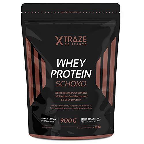 XTRAZE® Whey Proteína en Pura Polvo de Suero para Batido de Proteinas, 900g de Proteina Vegetal + Aislada con BCAA, Suplemento sin Aditivos, Para Fitness y Aumentar Masa Muscular (Chocolate)