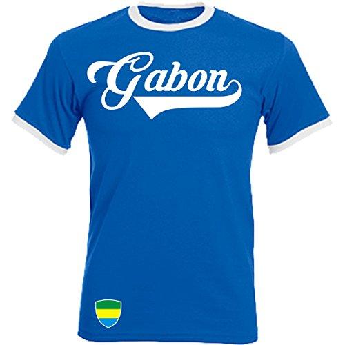Gabun - Ringer Retro TS - blau - WM 2018 T-Shirt Trikot Look (S)