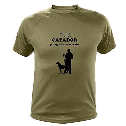 Camiseta de Caza, Cazador y Orgulloso de Serlo (con personalización) (30150, Verde, L)