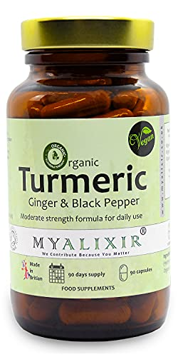 Organic Turmeric Curcumin with Organic Black Pepper & Organic Ginger - Plastic Free Package - Vegan Turmeric Capsules – Organic Turmeric with Active Ingredient Curcumin - Made in UK by MYALIXIR
