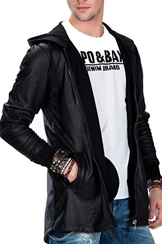 Cipo & Baxx Herren Jacke Kunstleder Jacke Kapuzenjacke Rockige Leder Jacke Übergangsjacke Oversizejacke Schwarz S