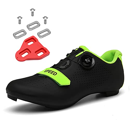 Scurtain Unisex Mens Womens Road Bike Cycling Shoes Riding Shoes with Compatible Cleat Peloton Shoe with SPD and Delta for Men Women Lock Pedal Bike Shoes Indoor Outdoor Black 4.5 Men
