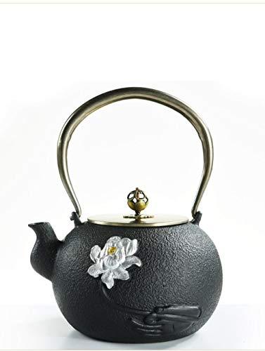 IKJN Teekessel Gusseisen Eisenkessel Teekocher Teeservice Haushalt Einfache Bergamotte Eisenkessel 1,2 Liter
