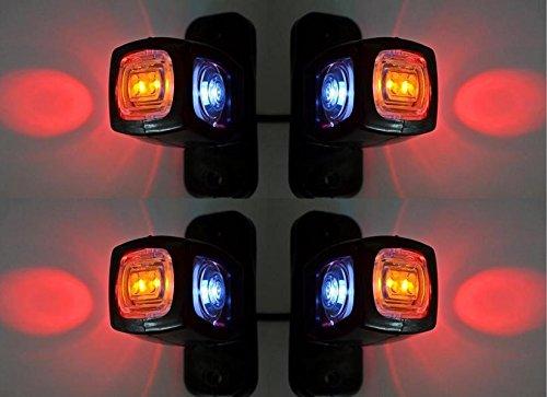 Markierungsleuchten, 4x seitlich hinten, dreifach, 24V 12V, für Anhänger, Van, Truck, Caravan, Chassis, Wohnmobil, orange / weiß / rot