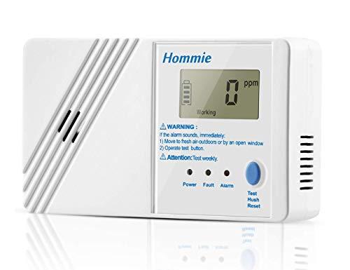 Hommie Detector de Monóxido de Carbono Sensor de CO Electroquímica con Función Memoria, Pantalla Digital de 1.0 Pulgadas, 85db Altos Decibelios y Pilas Reemplazable y, Blanco
