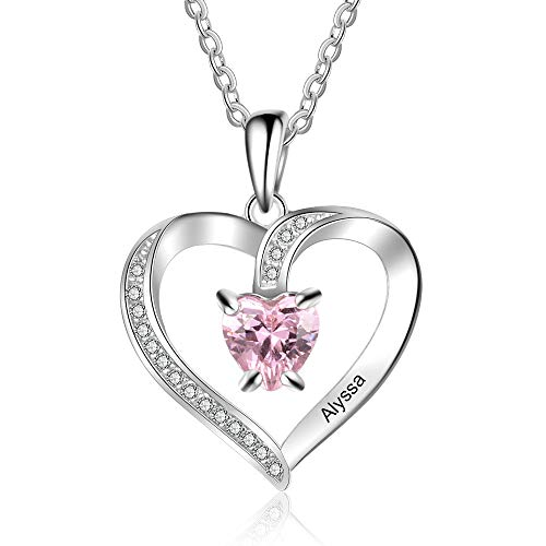 Customised Silver Love Heart Necklace for Women Cusume Jewellery- Pendant for Mum Grandma BFF Name Necklace Chain Personalised Gifts - 1 Simulated Birthstone 1 Engraved Names