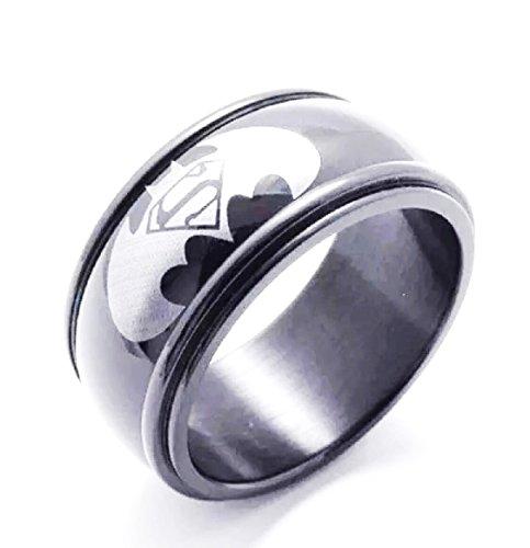Ellis Family Polished Black Batman & Superman Logo Band Ring