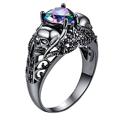 HEling Anillo de calavera para Halloween, par de calaveras, esqueleto, anillo espeluznante, ayudante para Halloween, disfraz de calavera, símbolo gótico, anillo de acero inoxidable (C, 8)