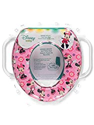 Soft potty seat for potty training. Disney Minnie Mouse on the seat to make toilet training fun and interesting. Handles for child to hold onto while going potty to help alleviate fear of falling in and create stability. Easy to Clean