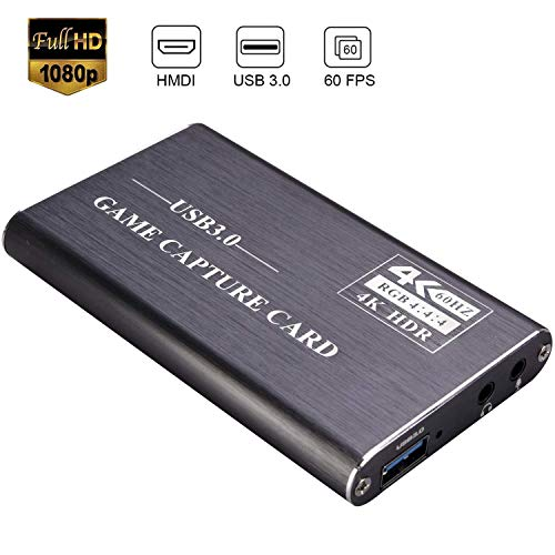 Kdely Game Capture Karte, HD Video Capture Card 1080P HDMI Video Capture USB 3.0 Videoaufnahme mit Live-Übertragungen Video Recorder Gerät Streaming Capture Card für Windows Linux OS X System-Grau
