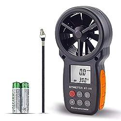 BTMETER Digital Anemometer Handheld BT-100 Wind Speed Meter Gauge, Accurately Measure Wind Temperature Speed Air Flow with MAX/MIN/AVG, Back Light LCD