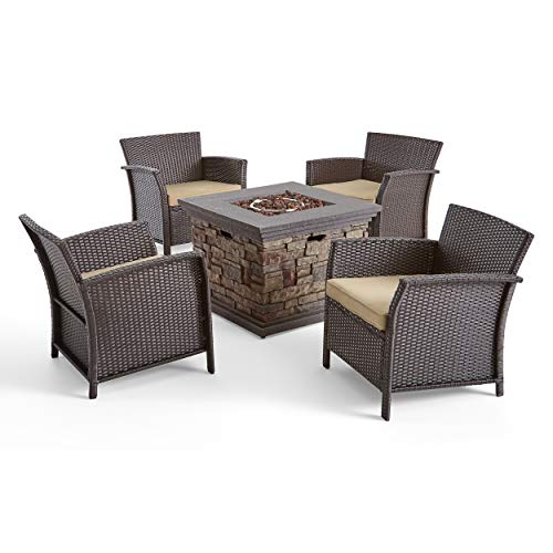 Great Deal Furniture Modesty Ferguson Outdoor 4 Piece Wicker Club Chair Chat Set with Fire Pit, Brown and Tan and Stone