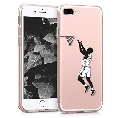 kwmobile Carcasa Compatible con Apple iPhone 7 Plus   8 Plus - Funda de TPU y Jugador Baloncesto en Negro Blanco Transparente