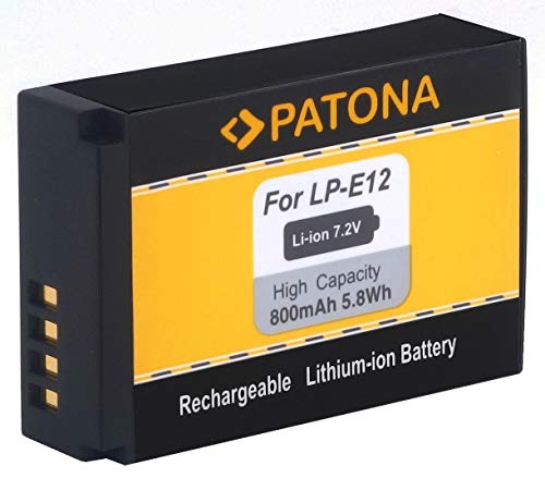 PATONA - Ersatz für Akku Canon LP-E12 zu EOS M M10 M50 M100 100D PowerShot SX70 HS