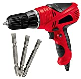MLD variable corded electric impact Screwdriver gun Cum Drill drivers reverse drive chuck 10 mm with free PH2 Plus and Minus Bit Sets (Colours as per Availability)