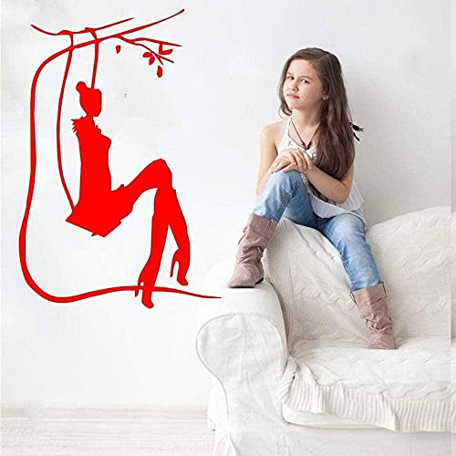 Salón Chica En Columpio Silueta Arte Diseño Pared Pegatina Vinilo Pared Mural Hogar Dormitorio Dulce Decoración Calidad Papel Tapiz Calcomanías 42 * 64Cm