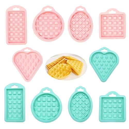 Molde Gofres Silicona,Qiundar 10 Pedazo Moldes Waffles Diferentes Formas Waffle Mold,para Horno Microondas(Verde,Rosado)