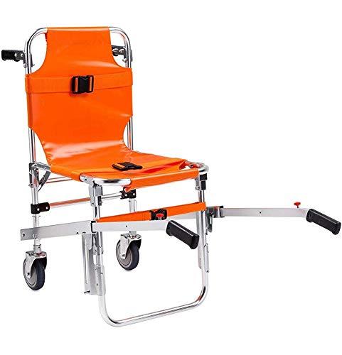 EMS Treppen Chairn, Aluminium Lichttreppengängigen Rollstuhl Ambulance Feuerwehrmann Evakuierung Aluminium Licht Medical Aufzug Treppen Stuhl mit Schnellverschlüssen, orange
